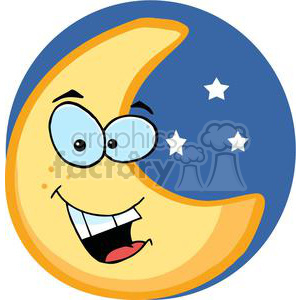 Smiling moon character.