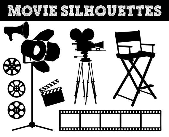 Movie film silhouettes.