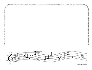 Music note border.