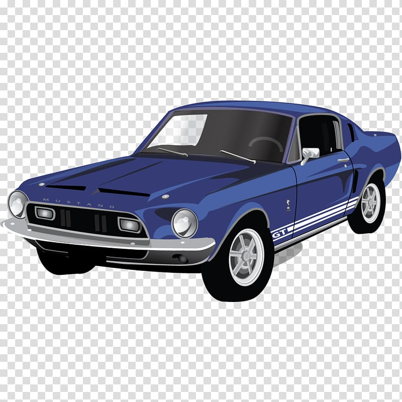Blue ford mustang.