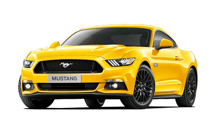 Yellow ford mustang.