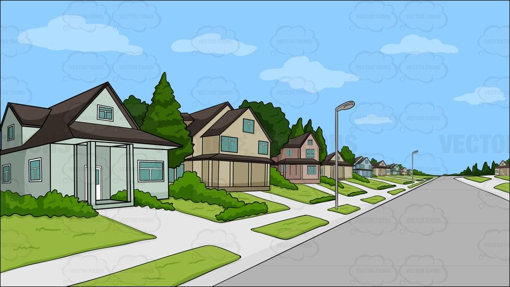 A Suburban Neighborhood Background Cartoon Stock Clipart