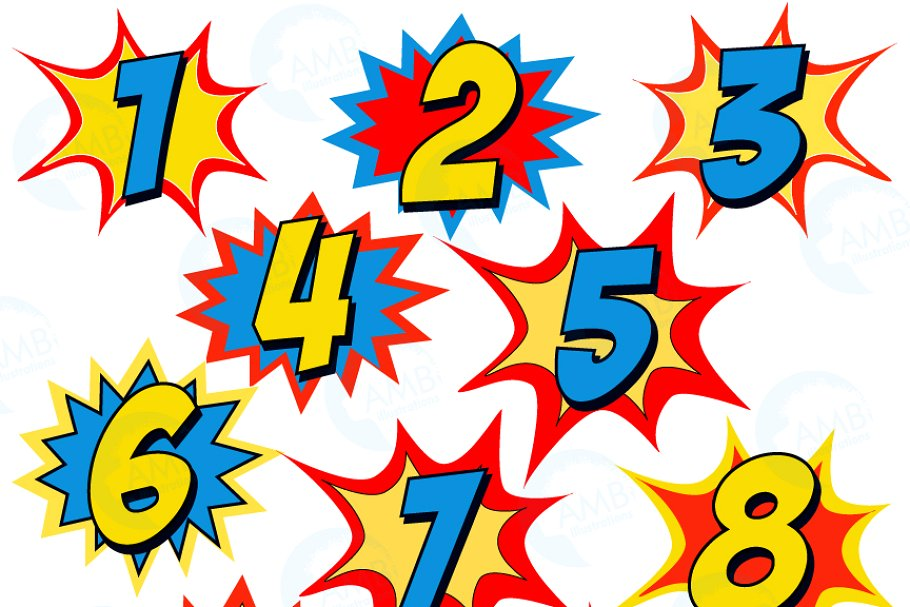 Starburst numbers clipart.
