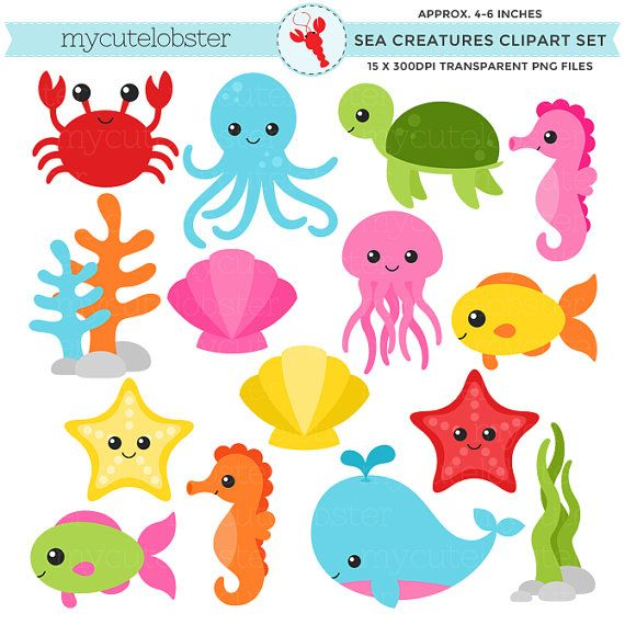 Sea Creatures Clipart Set