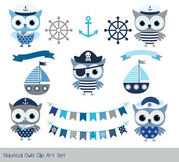 Cute pirate owl clipart, Nautical sailor owl clip art, Grey blue animal,  boat