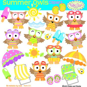 Summer owl clipart.