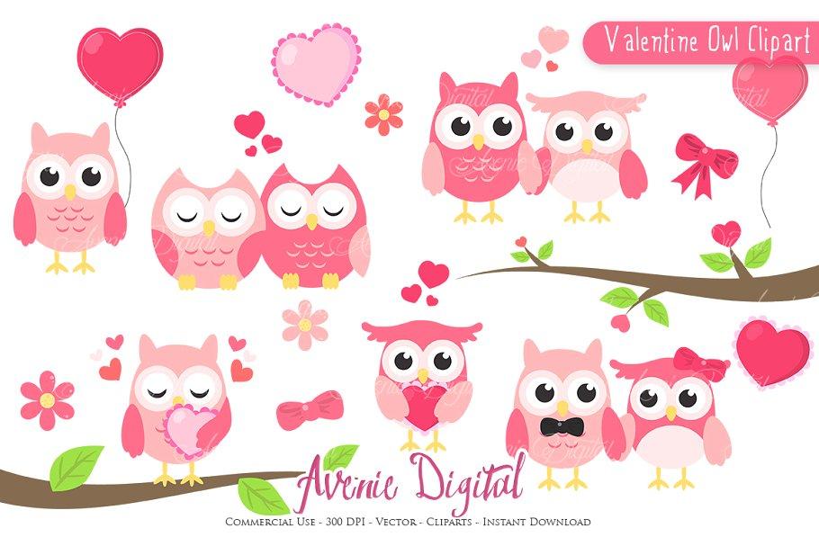 Valentine owl clipart.