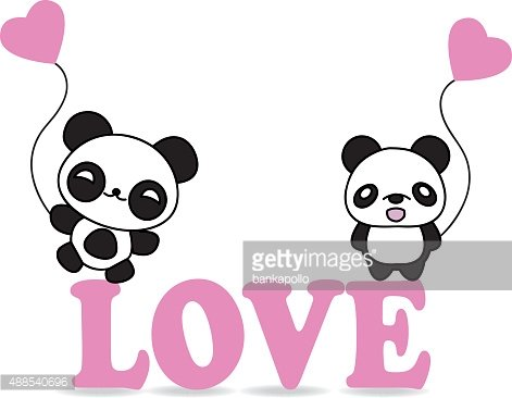 Valentine panda with.