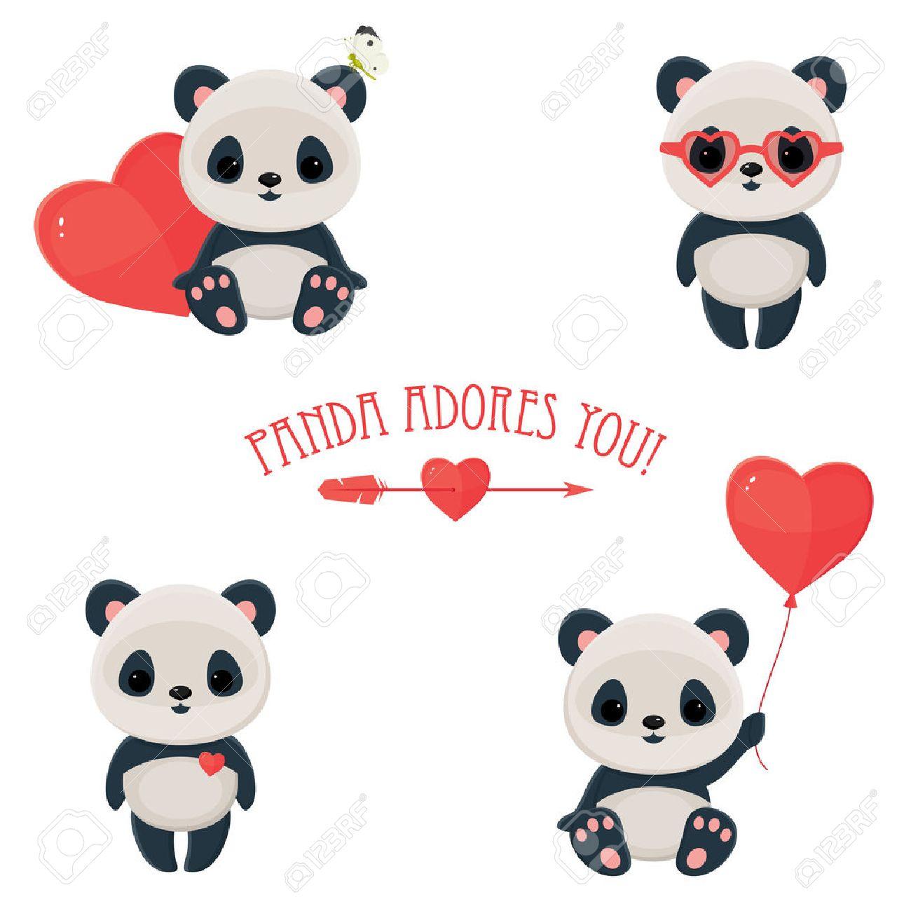 Panda clipart valentine.