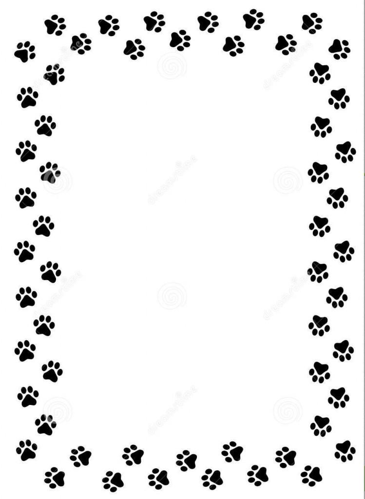 paw print border clipart frame