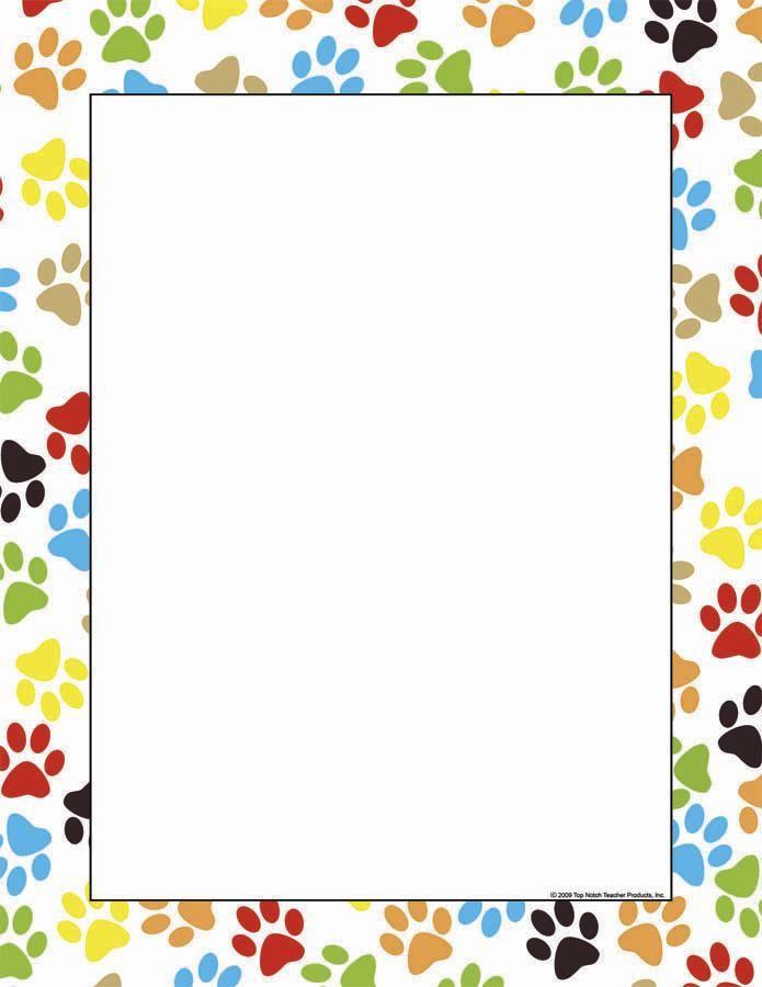 Paw print border clipart bear. Computer paper doggie