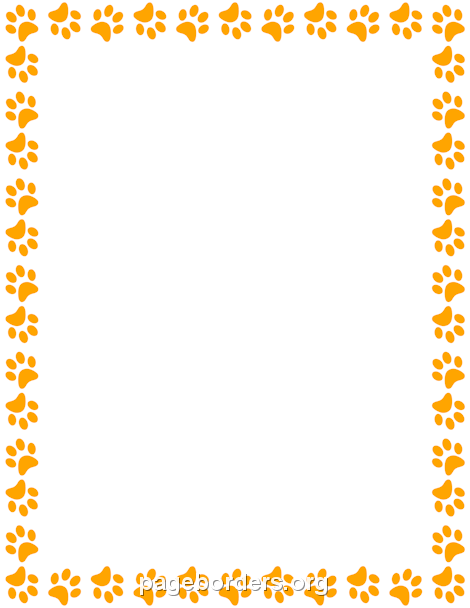 paw print border clipart colored