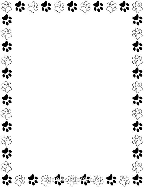 Paw print border clipart bear. Black and white davia