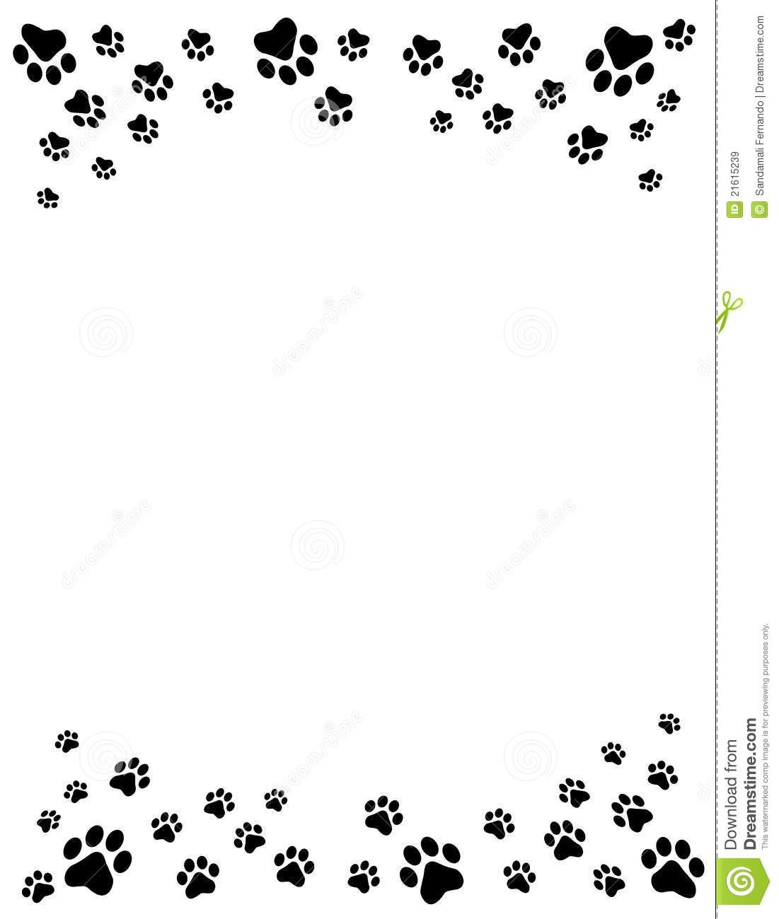 paw print border clipart name tag