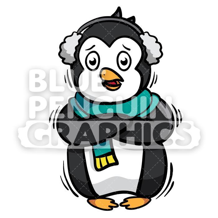 Penguin Feel So Cold Vector Cartoon Clipart Illustration