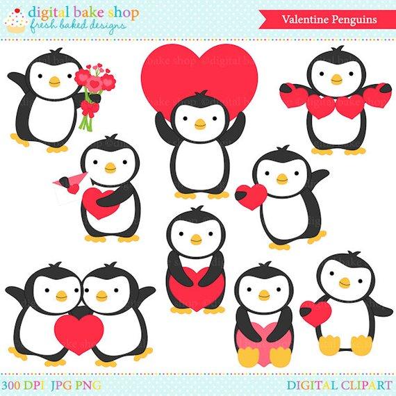 Penguin valentine clip.