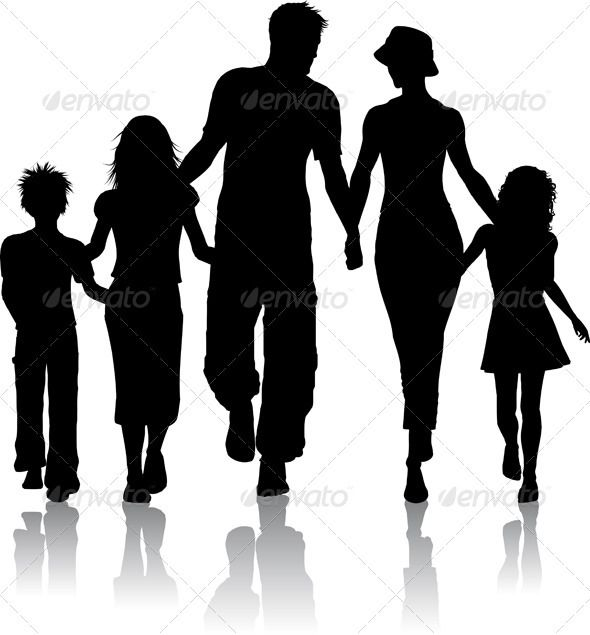 Family silhouette people.
