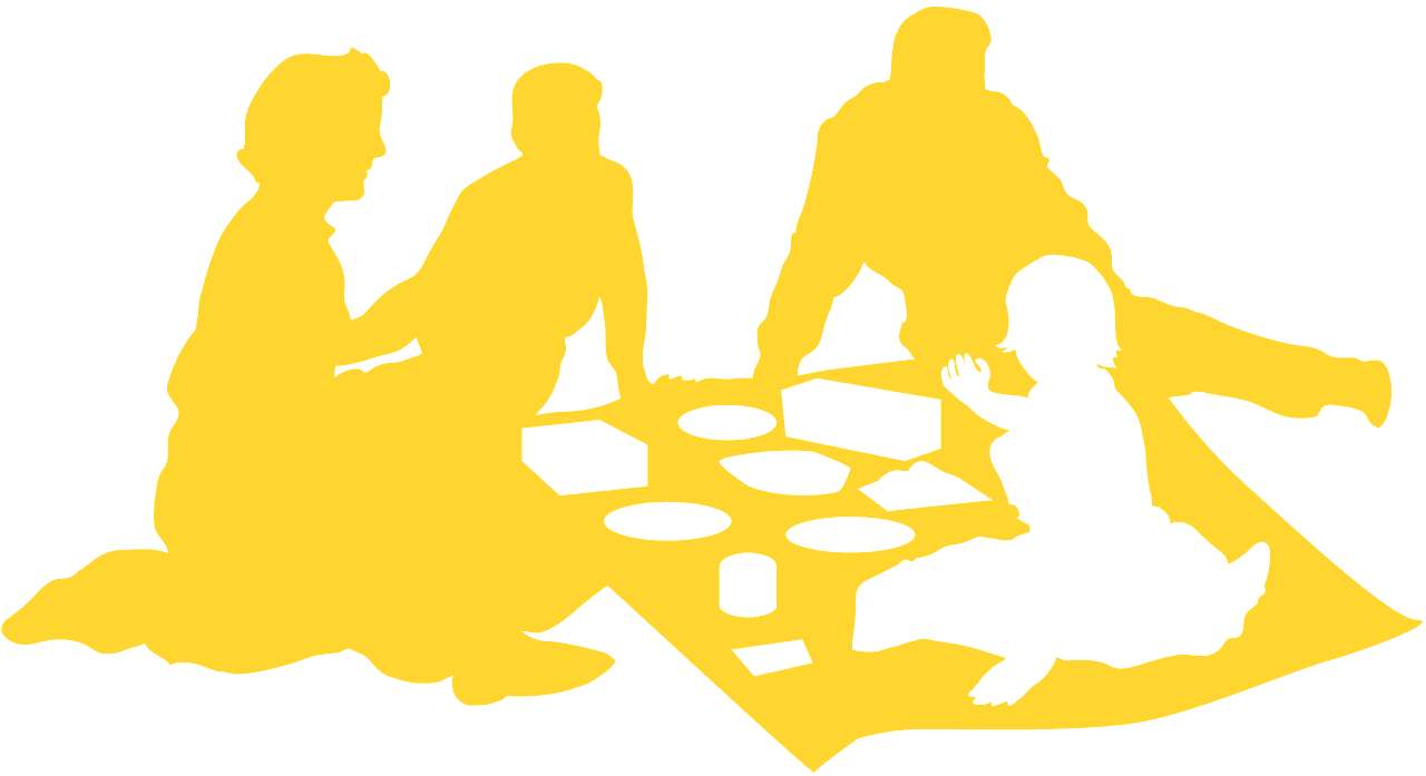 Family picnic silhouette.