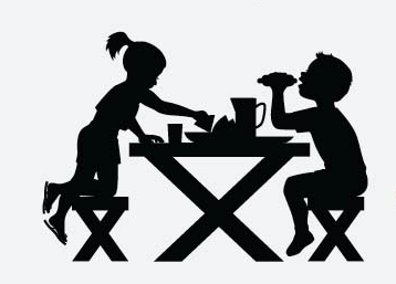 Picnic table silhouette.