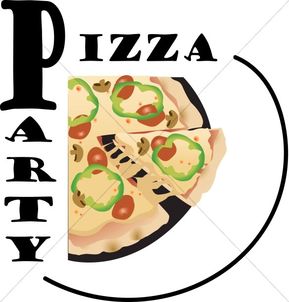 Pizza party graphic.