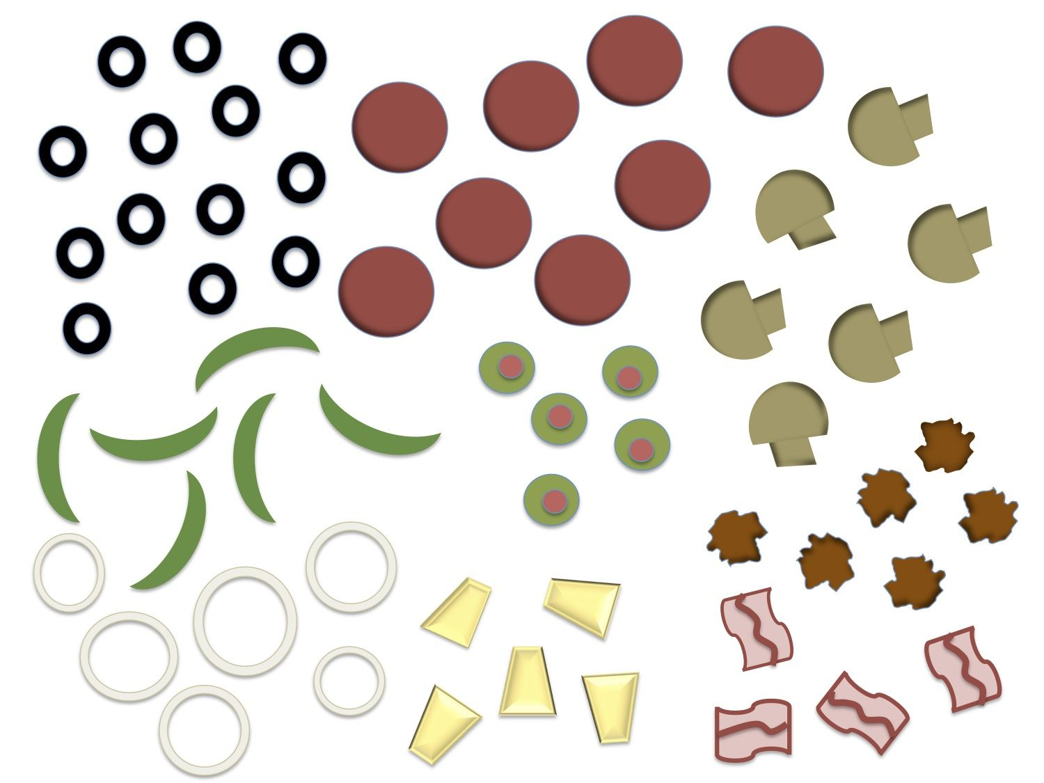 Printable pizza toppings.