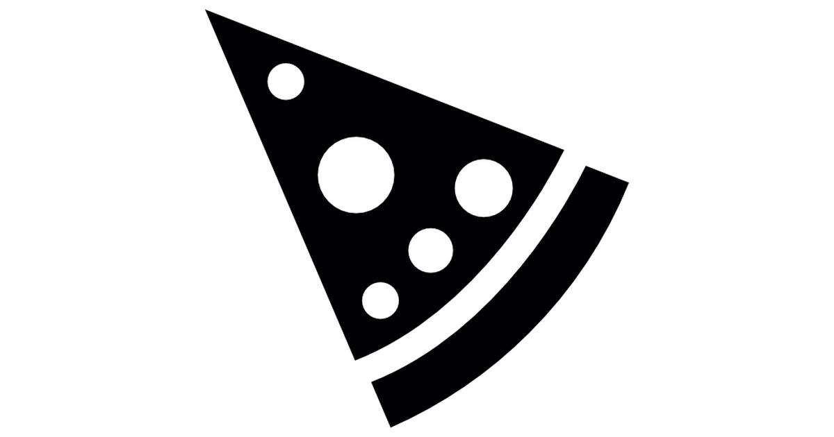 Triangular pizza slice.