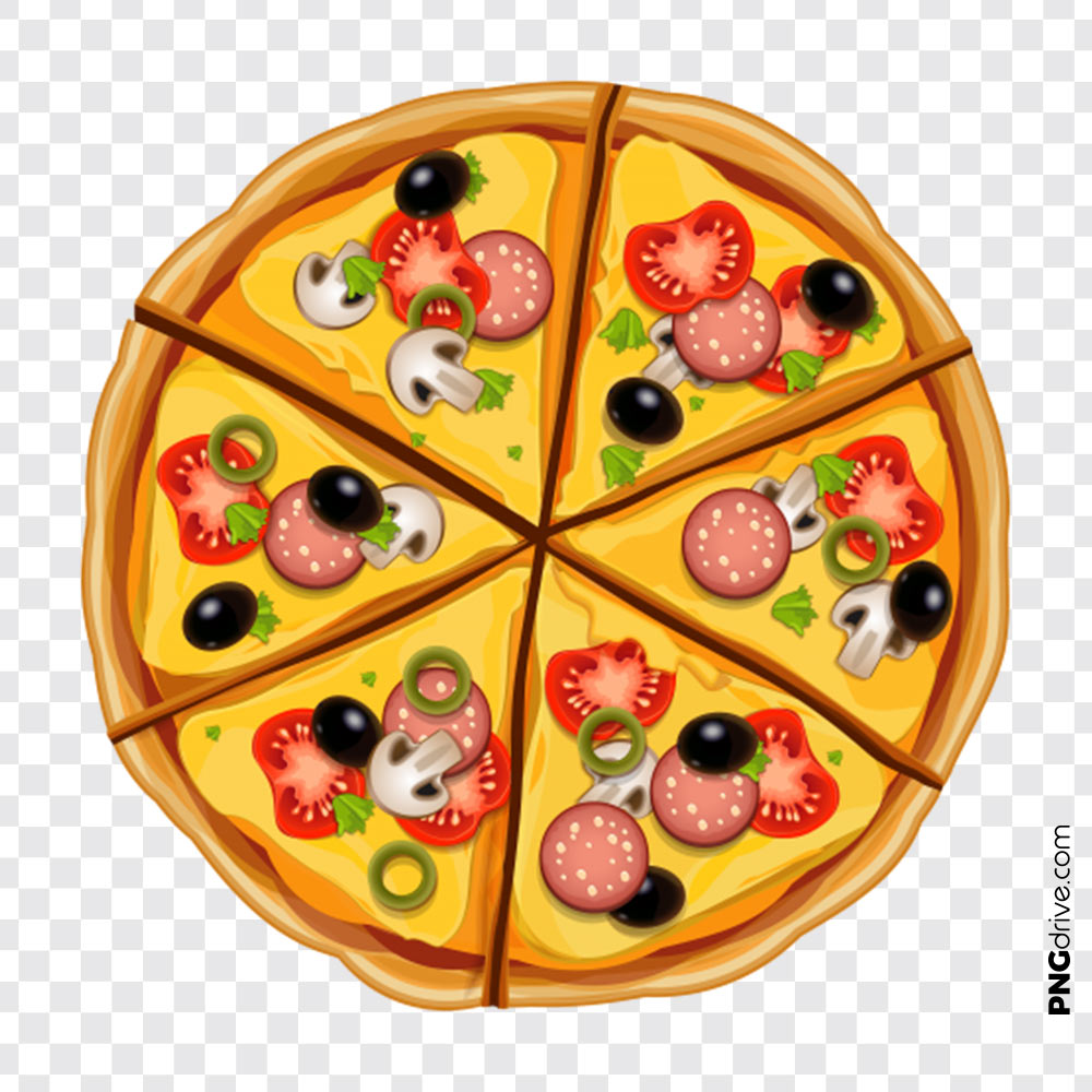Pizza top view.