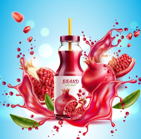 Realistic pomegranate juice bottle splash a