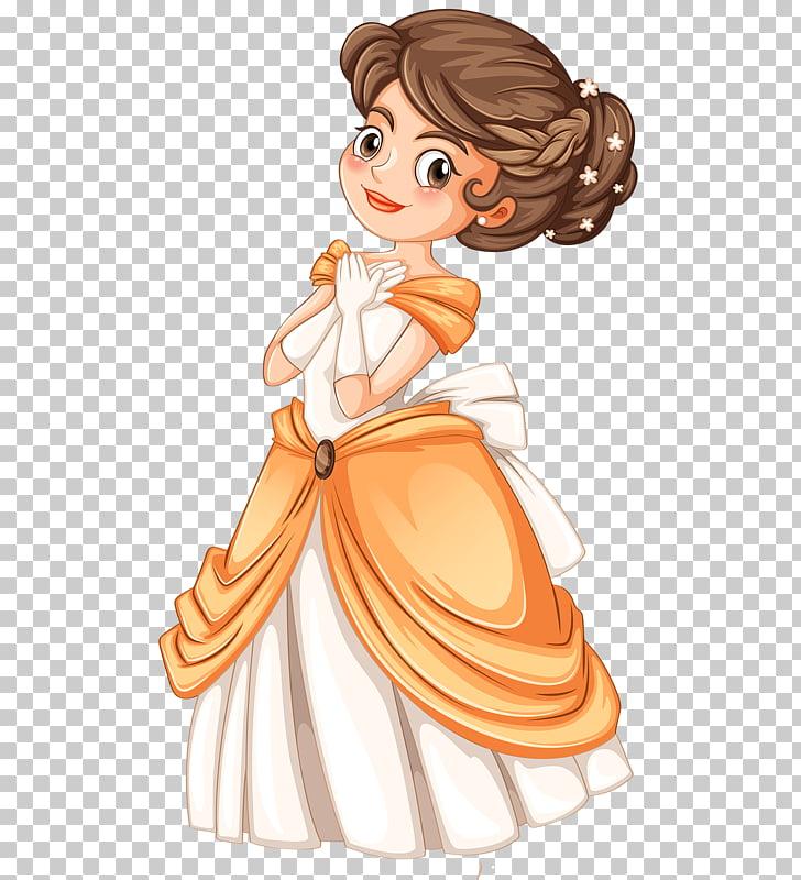 Princess Cartoon , Royal Princess, girl in orange and gray