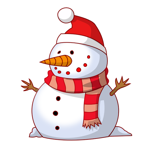Vector image of snowman with red scarf