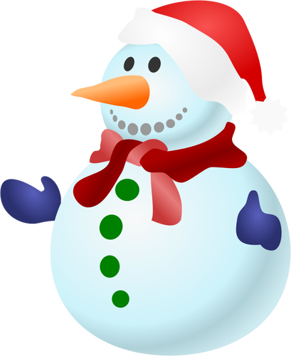 Vector clip art of happy colorful snowman with scarf