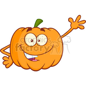 Royalty Free RF Clipart Illustration Funny Halloween Jackolantern Pumpkin  Cartoon Mascot Character Waving For Greeting clipart