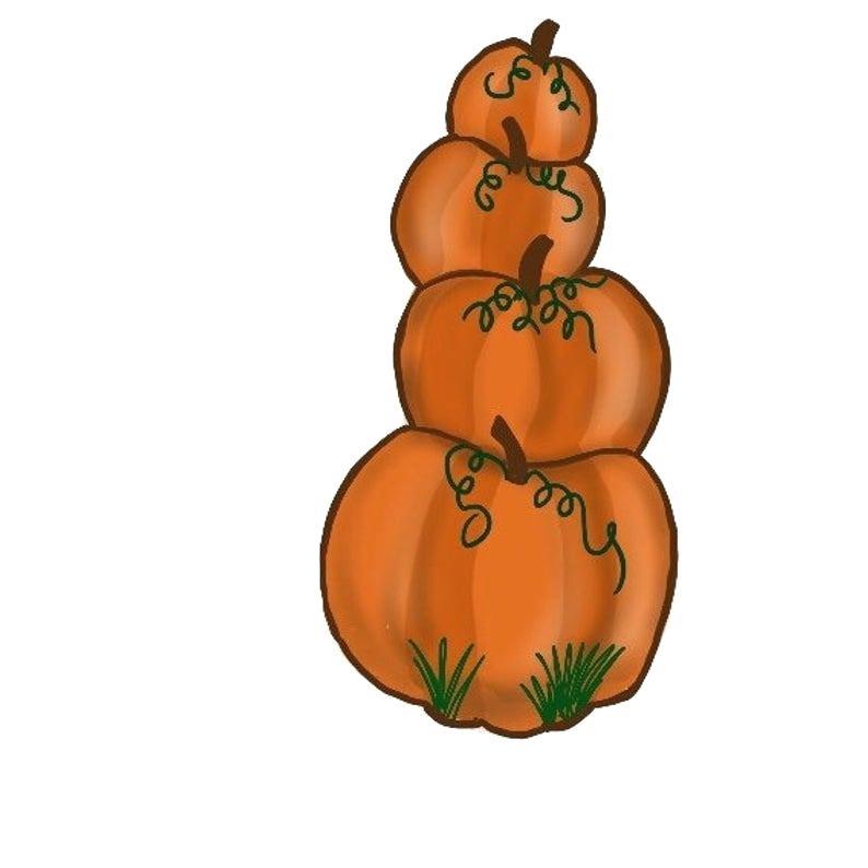 Stacked pumpkins.