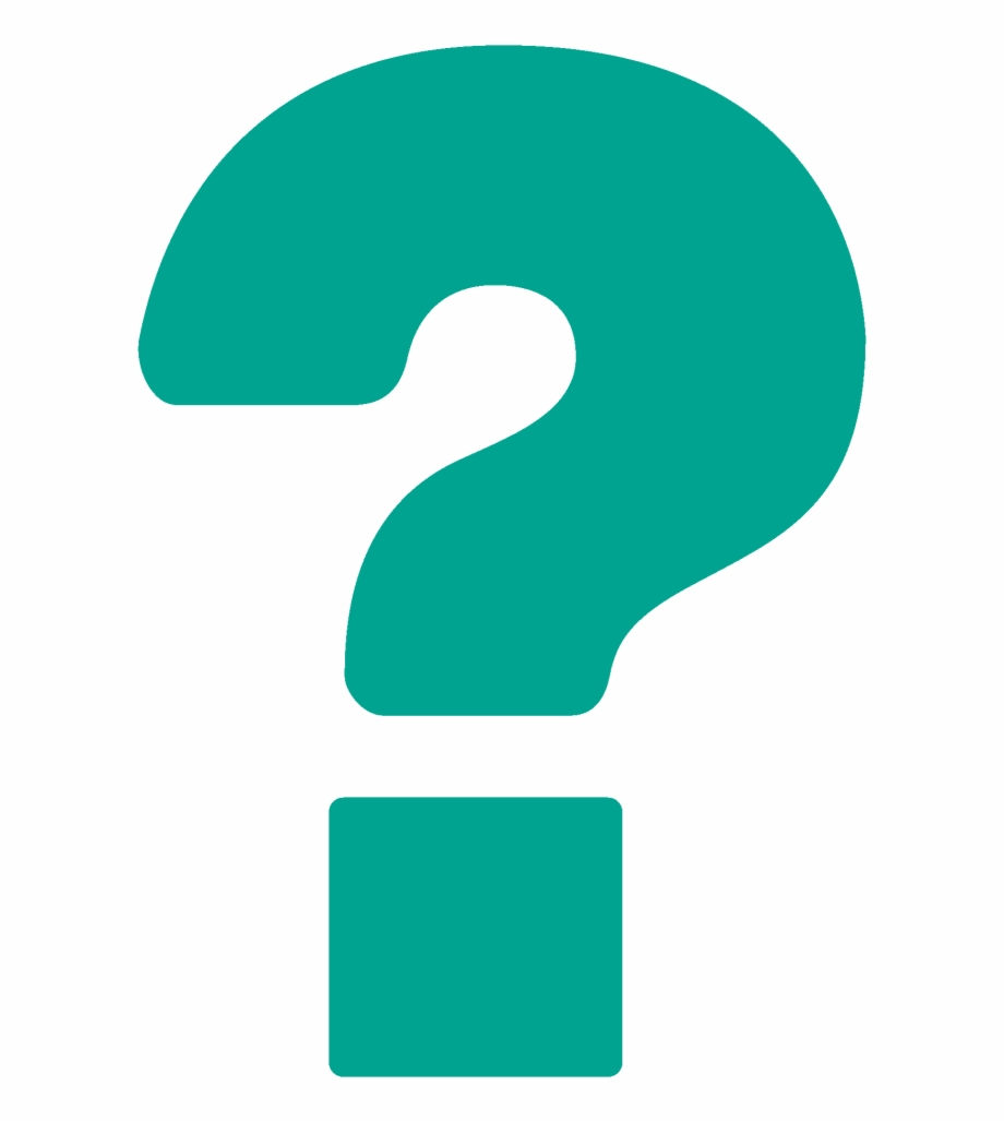 Teal question marks.