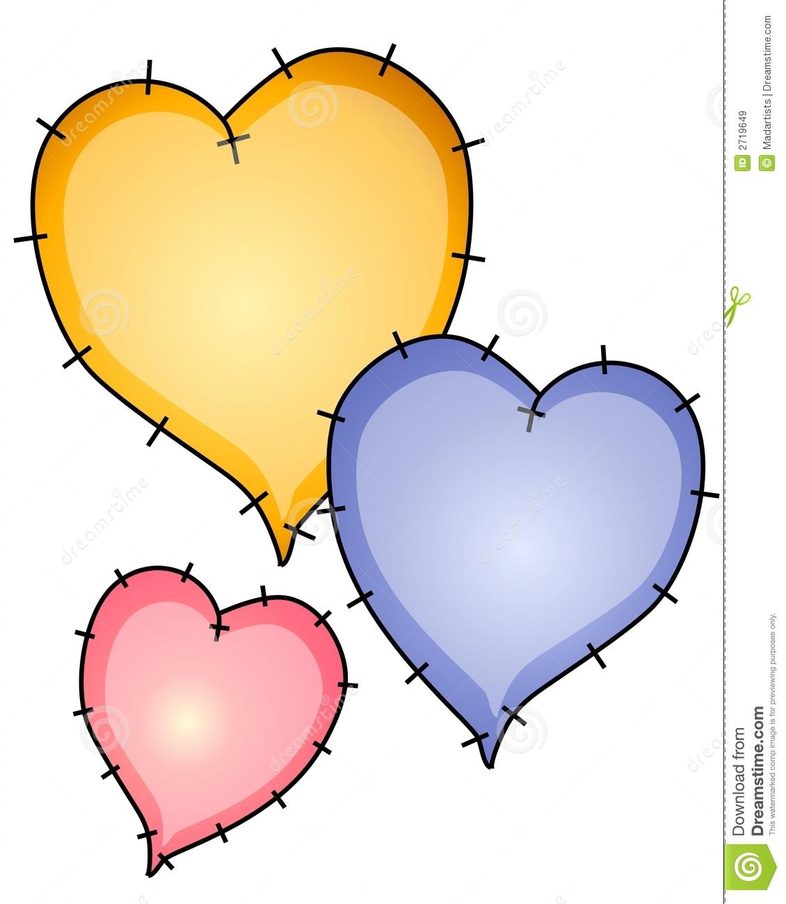 Heart Quilt Patches Clip Art