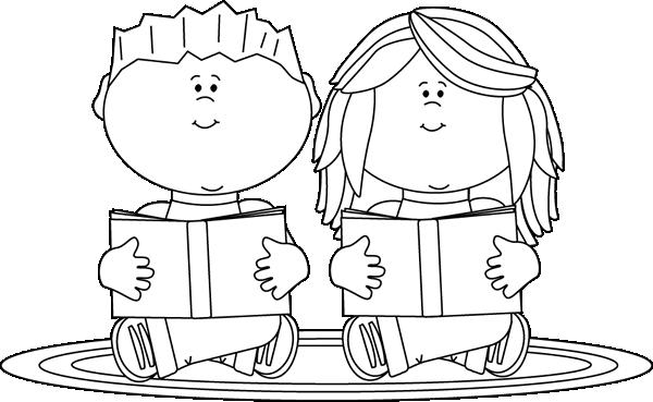 kids reading clipart white