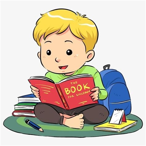 Cartoon boy reading.