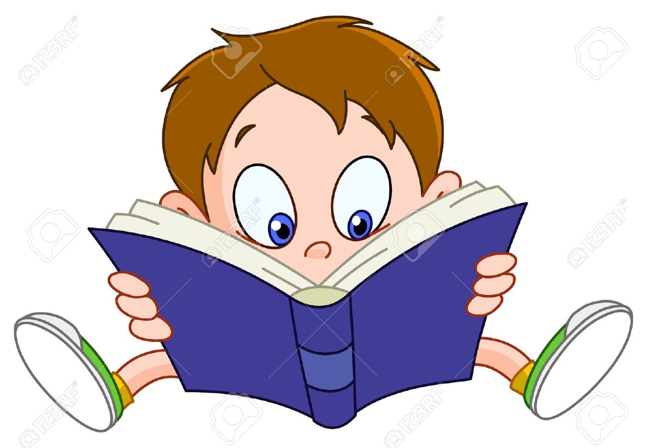 Reading cartoon clipart.