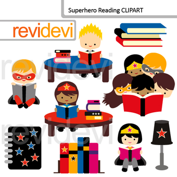 Reading clipart superheroes.