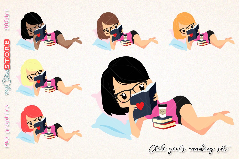 Chibi girl reading.