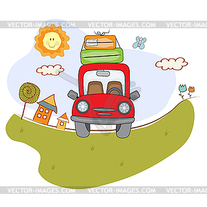 Red car with suitcases on road