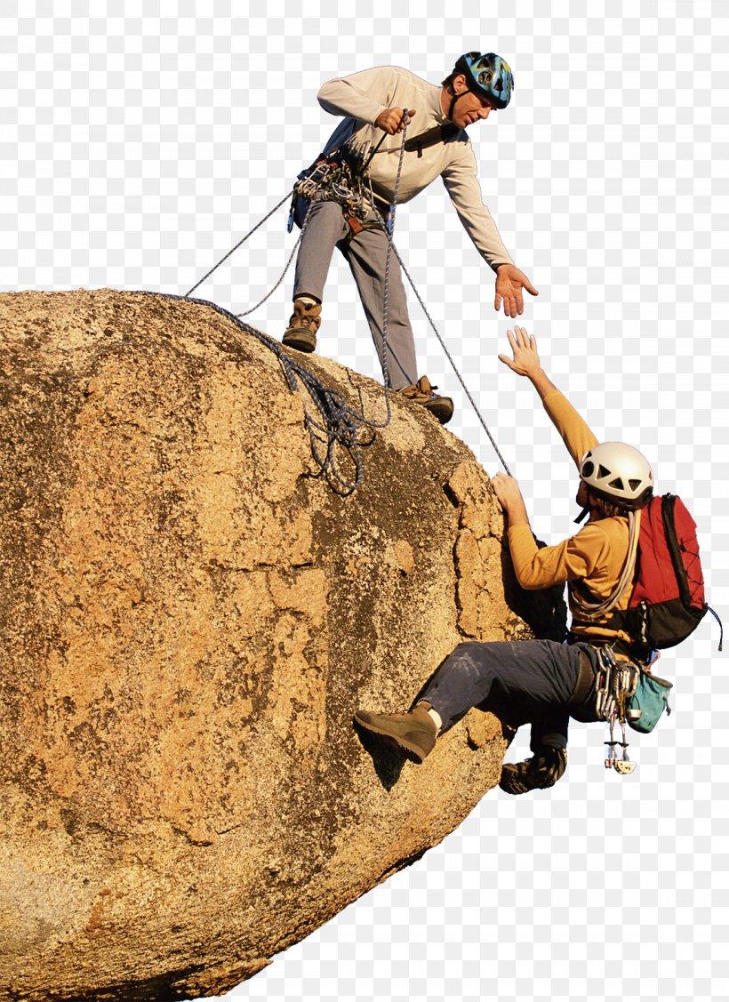 Sport climbing teamwork.