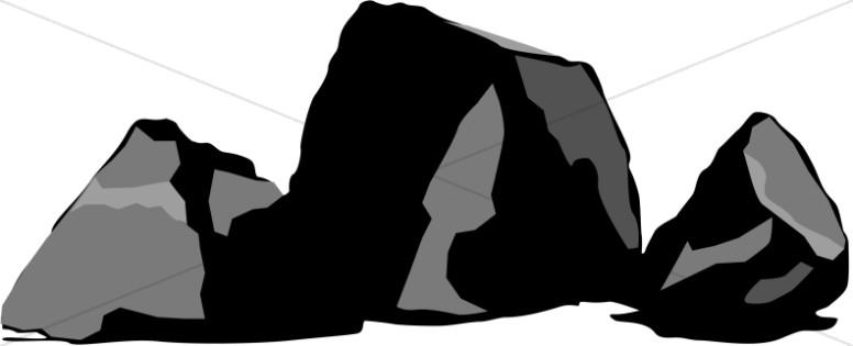 Three black rocks.