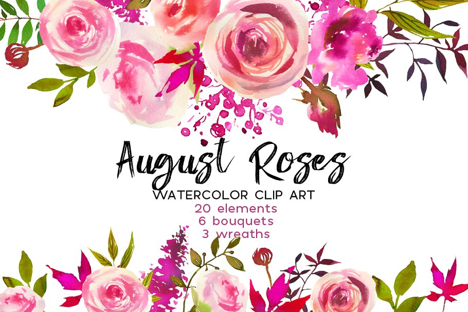August roses watercolor.