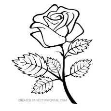 Rose clipart outline.