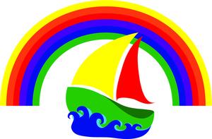 Colorful sailing icon.