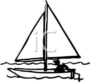 A Black and White Cartoon of a Man Sailing a Sailboat
