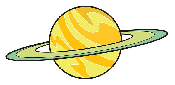 Planet Saturn Cartoon Clipart Image