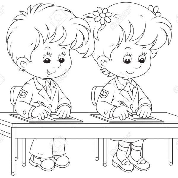 School children writing.