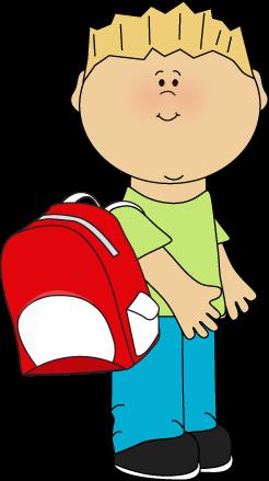Boy wearing backpack.